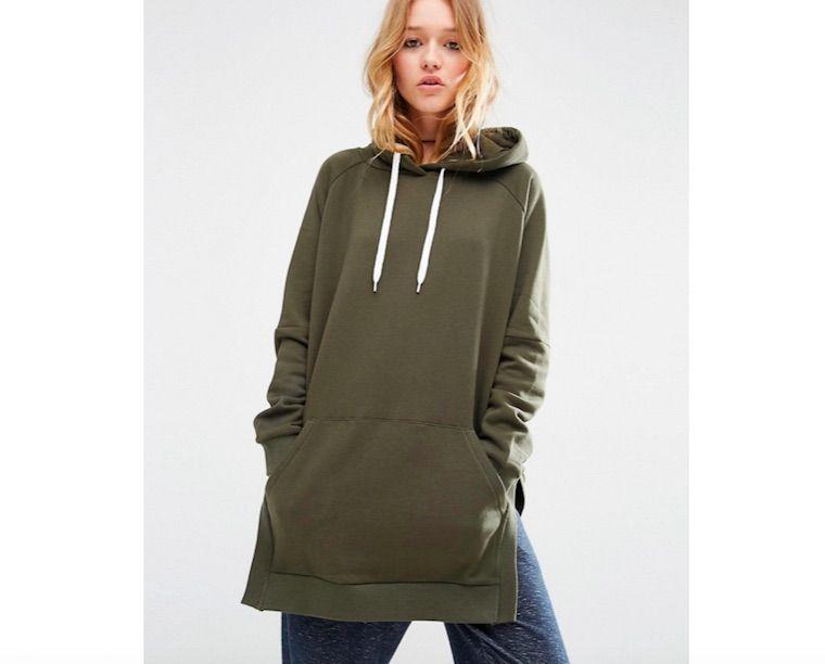 New Women Zip Up Asymmetric Longline Hoodie Sweatshirts Pullover Coat Jacket Top