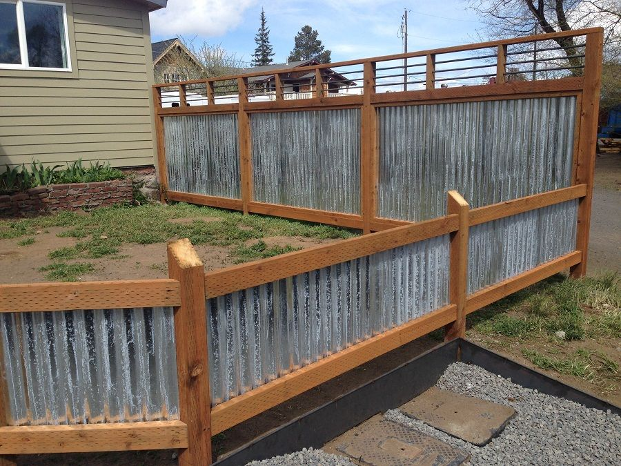 Wood And Corrugated Metal Fence Panels : Spectacular Ideas .