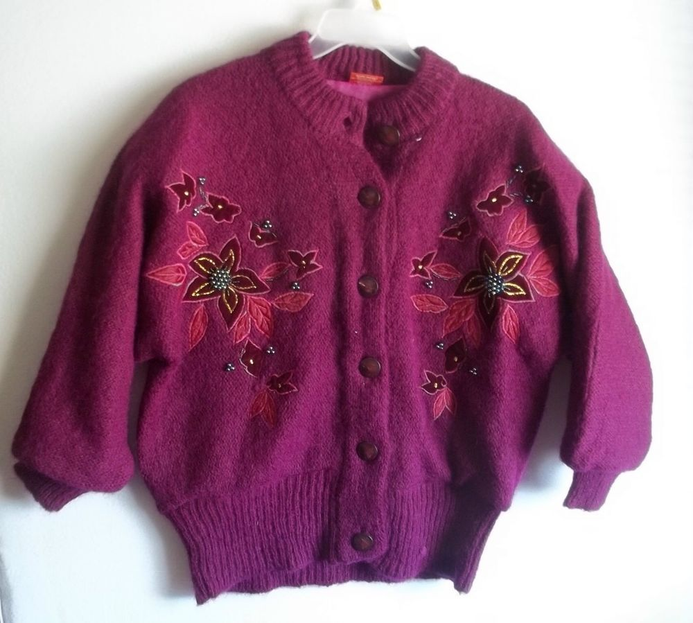 vtg Purple embellished beaded 100% wool cardigan sweater top L xl ...