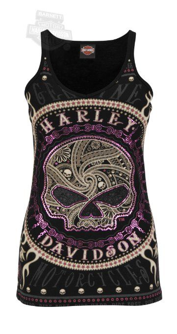 Amazon.com: Harley-Davidson Womens Gates Of Skulls Rhinestones Sleeveless Tank: Clothing