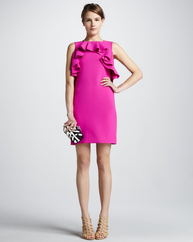 Diane von Furstenberg Pandora Ruffled Sheer-Back Dress - Neiman ...