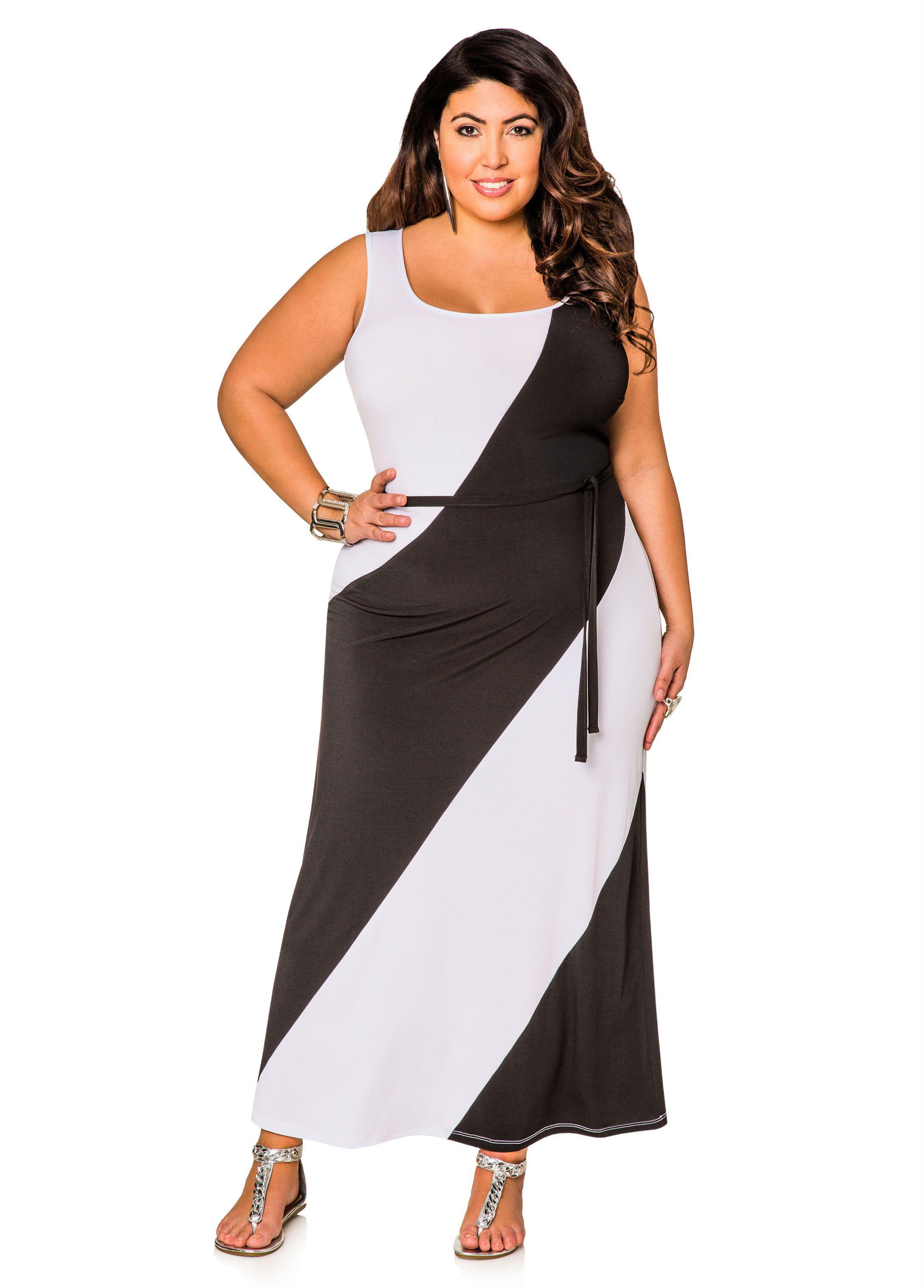 Diagnol Stripe Belted Colorblock Maxi Dress Ashley Stewart Color Block Maxi Dress Maxi Dress Shop Casual Dresses [ 3035 x 2178 Pixel ]