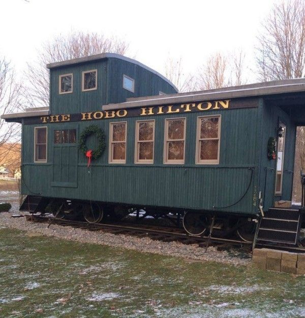 Couple's Tiny Caboose Cabin | Tiny House Things | Tiny house, Tiny on caboose home plans, bobber caboose model plans, caboose interior plans, caboose construction plans, caboose diy plans, caboose cabin plans, caboose shed plans,