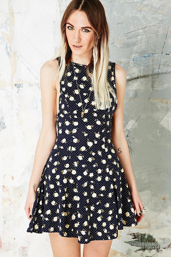 """EUC Urban Outfitters Ecote """"Lala Easy Lady"""" Navy Skater Dress size L Low Back #UrbanOutfitters #Skater #Casual"""
