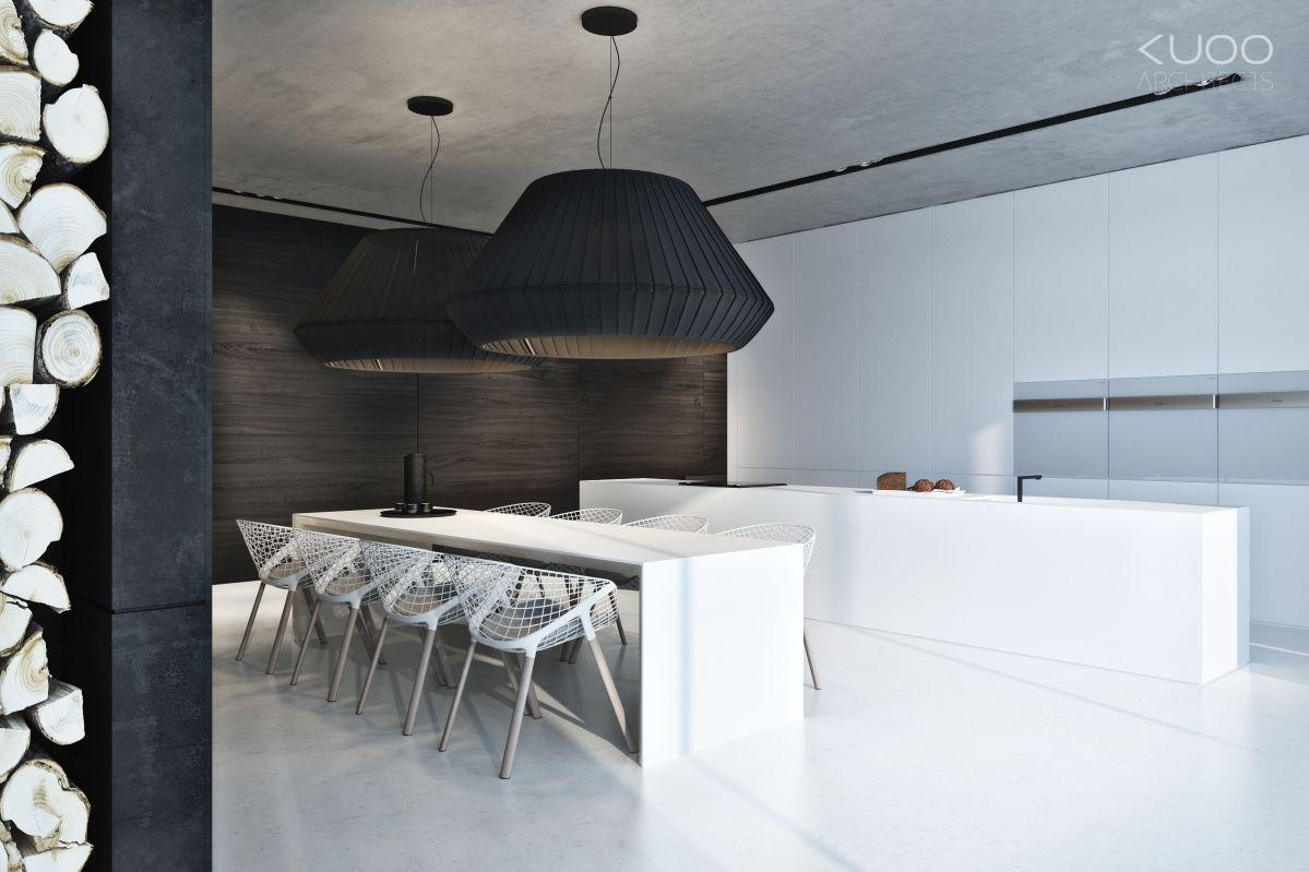 Foorni Pl Private House Kuchnia Z Wyspa Biala Kuchnia Jadalnia Duze Lampy Wiszaca Bialo Czarne Japanese Interior Design Kitchen Interior Kitchen Design