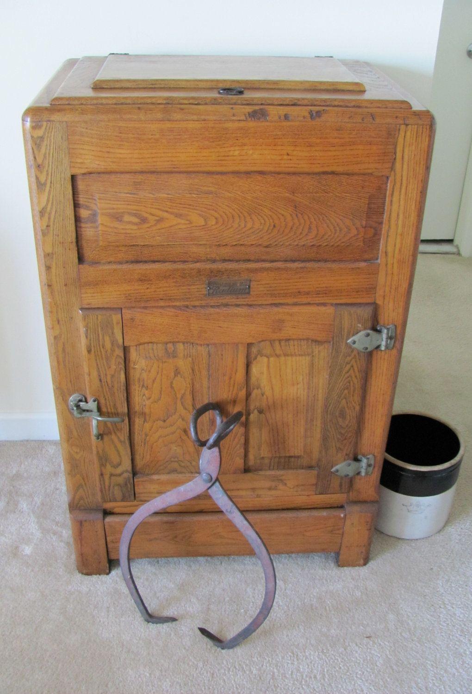 Vintage 1920s Oak Ice Box Refrigerator Storage 395 00 Via Etsy Antique Ice Box Vintage Ice Box Vintage Refrigerator