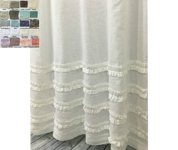 Natural Linen Shower Curtain Features 4 Rows Of Ruffles Adding A Hint Of Elegance To Casual Ticking S White Shower Curtain White Shower Striped Shower Curtains