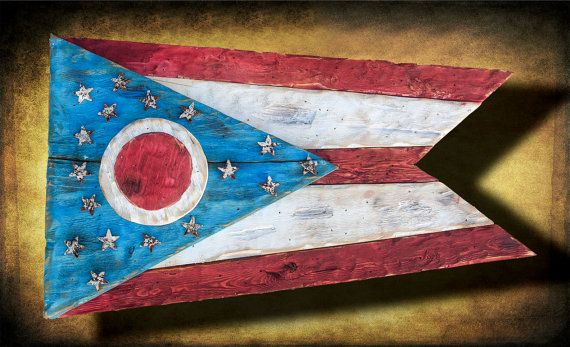 Weathered Wood One of a kind 3D Ohio Flag, Wooden, vintage, art, distressed, Cincinnati, Blue, Cleveland, red on Etsy, $180.00