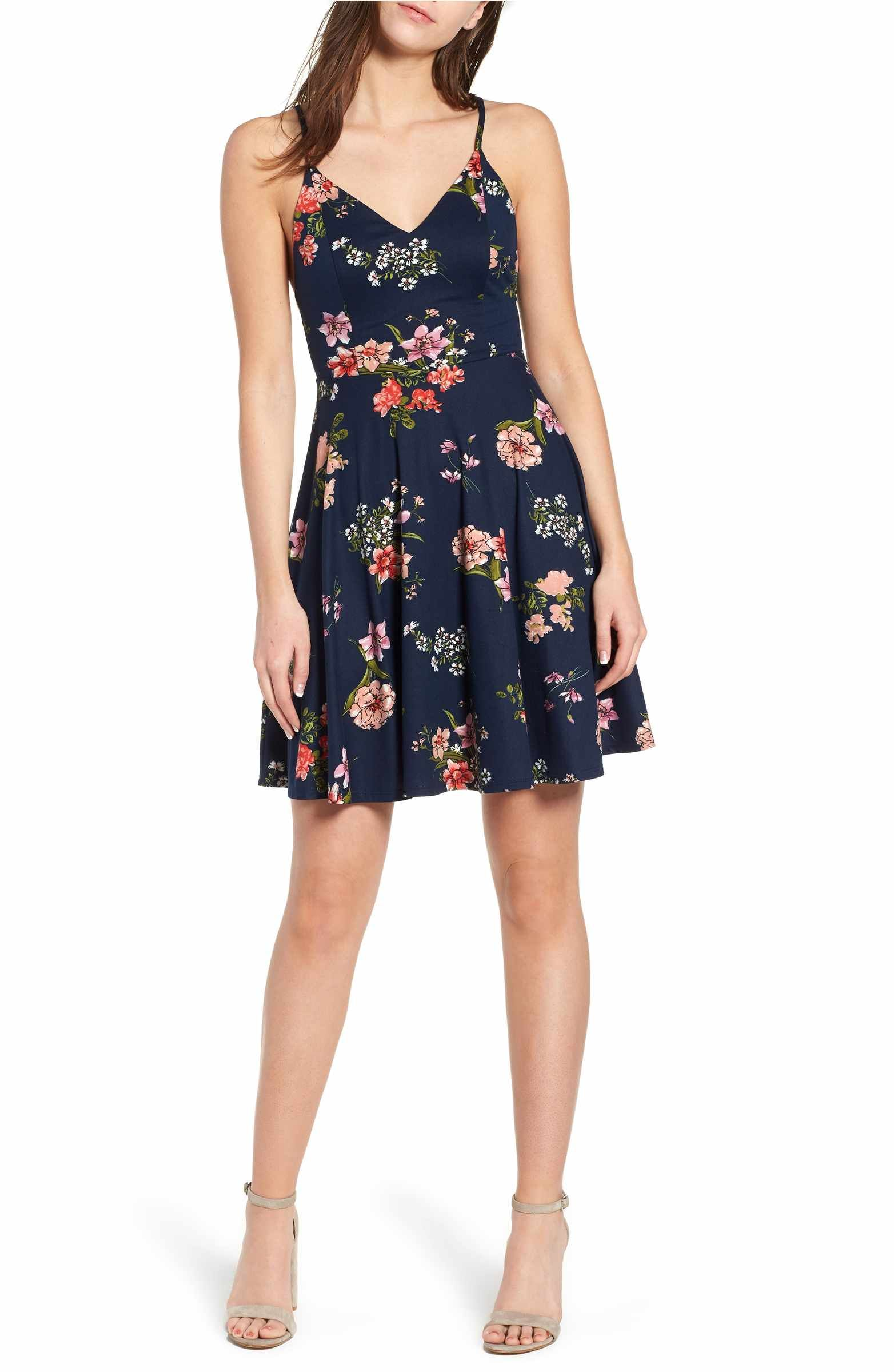 Glamorous Womens Mix Rose Print Strappy Dress