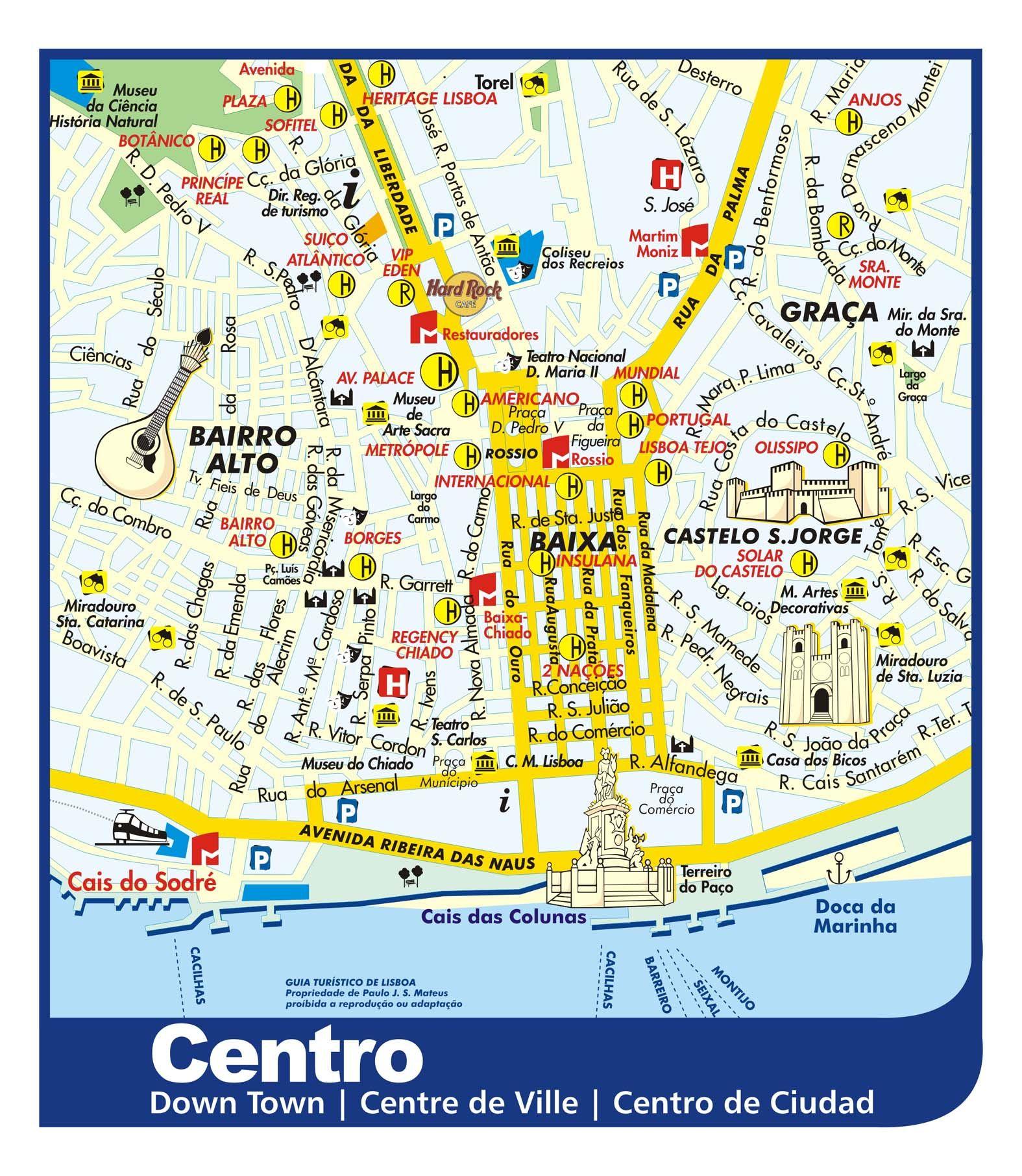 mapa do centro de lisboa Mapa de Monumentos em Lisboa | Centro de lisboa, Lisboa e Roteiro mapa do centro de lisboa
