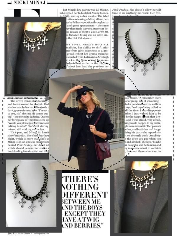 Alessia Marcuzzi wearing Ann necklace fall winetr collection www.stellinafabbri.it