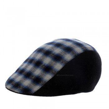 Blue Check Black Golf Cap