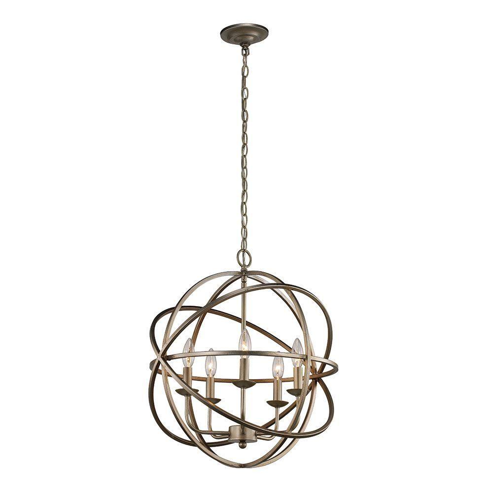 Monteaux Lighting 5-Light Antique Silver Pendant-LSA 55607 - The ...
