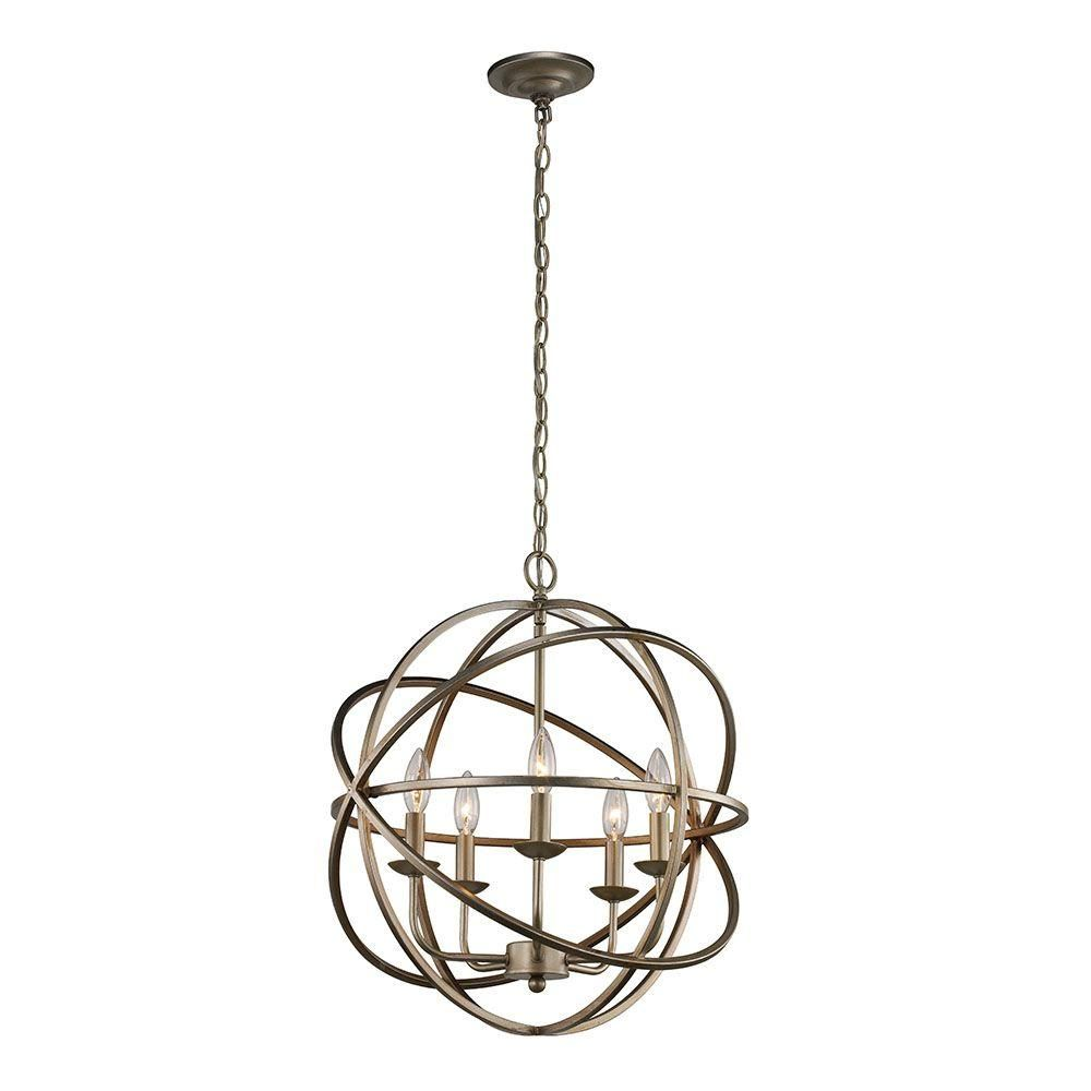 Monteaux lighting 5 light antique silver pendant lsa 55607 the home depot