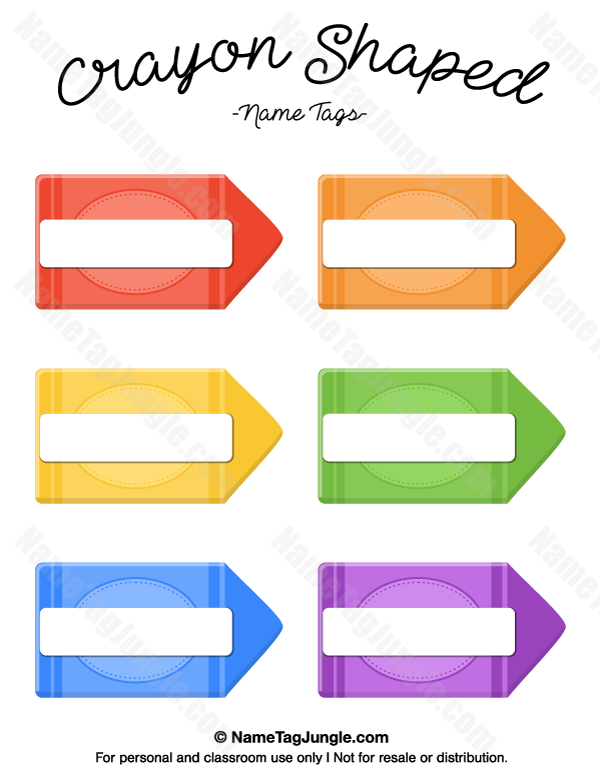 Free printable crayon shaped name tags the template can for Crayon labels template