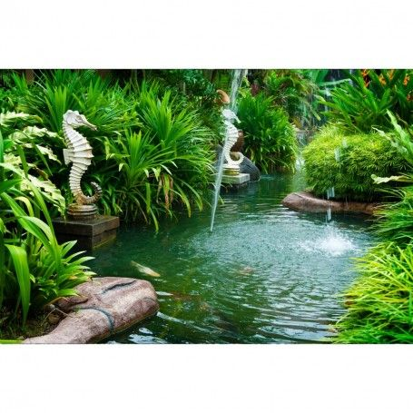 Picture Of Tropical Zen Garden View With Fountain And Green Plants. Stock  Photo, Images And Stock Photography.