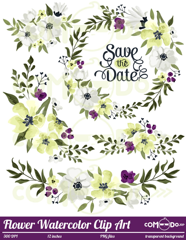Watercolor Flower Clipart Spring Floral Digital Clip Art