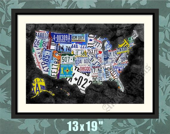 wall art license plate map usa by david bowman canvas print ewallart