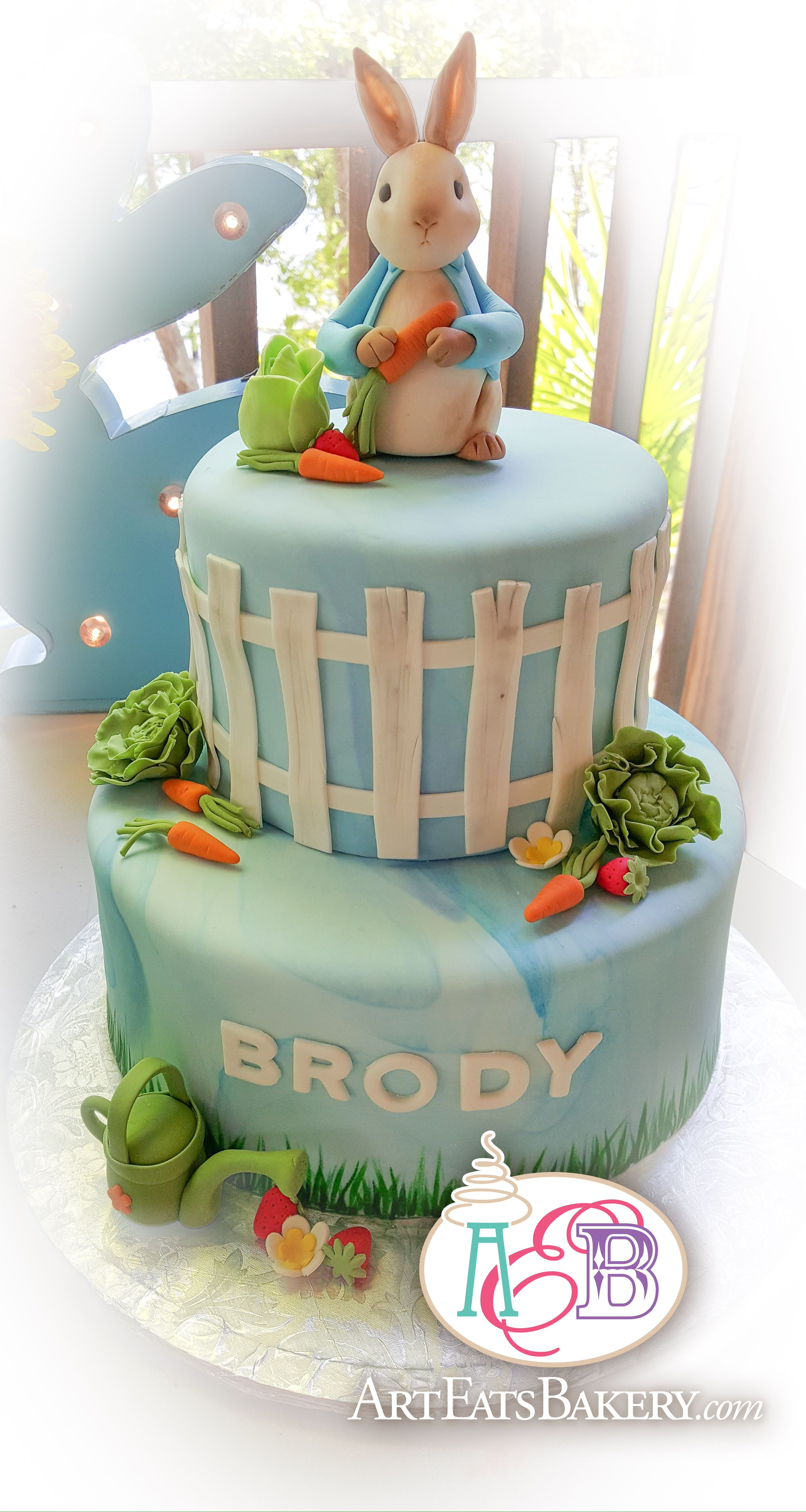 Surprising Peter Rabbit 1St Birthday Cake From Art Eats Bakery With Funny Birthday Cards Online Alyptdamsfinfo