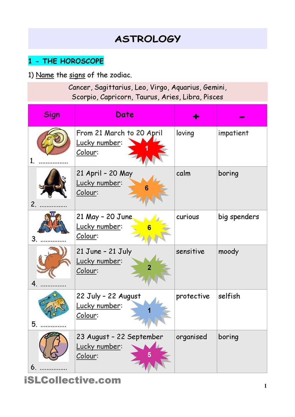 worksheet Zodiac Signs Worksheet the horoscope language love pinterest horoscopes worksheets worksheet free esl printable made by teachers