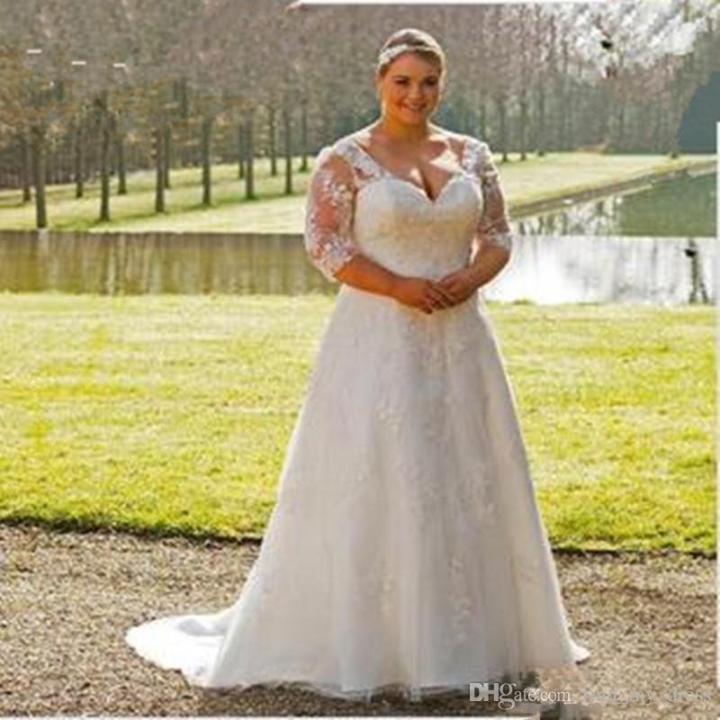 Plus Size Wedding Dress Open Back Garden New Transparent 3/4 ...