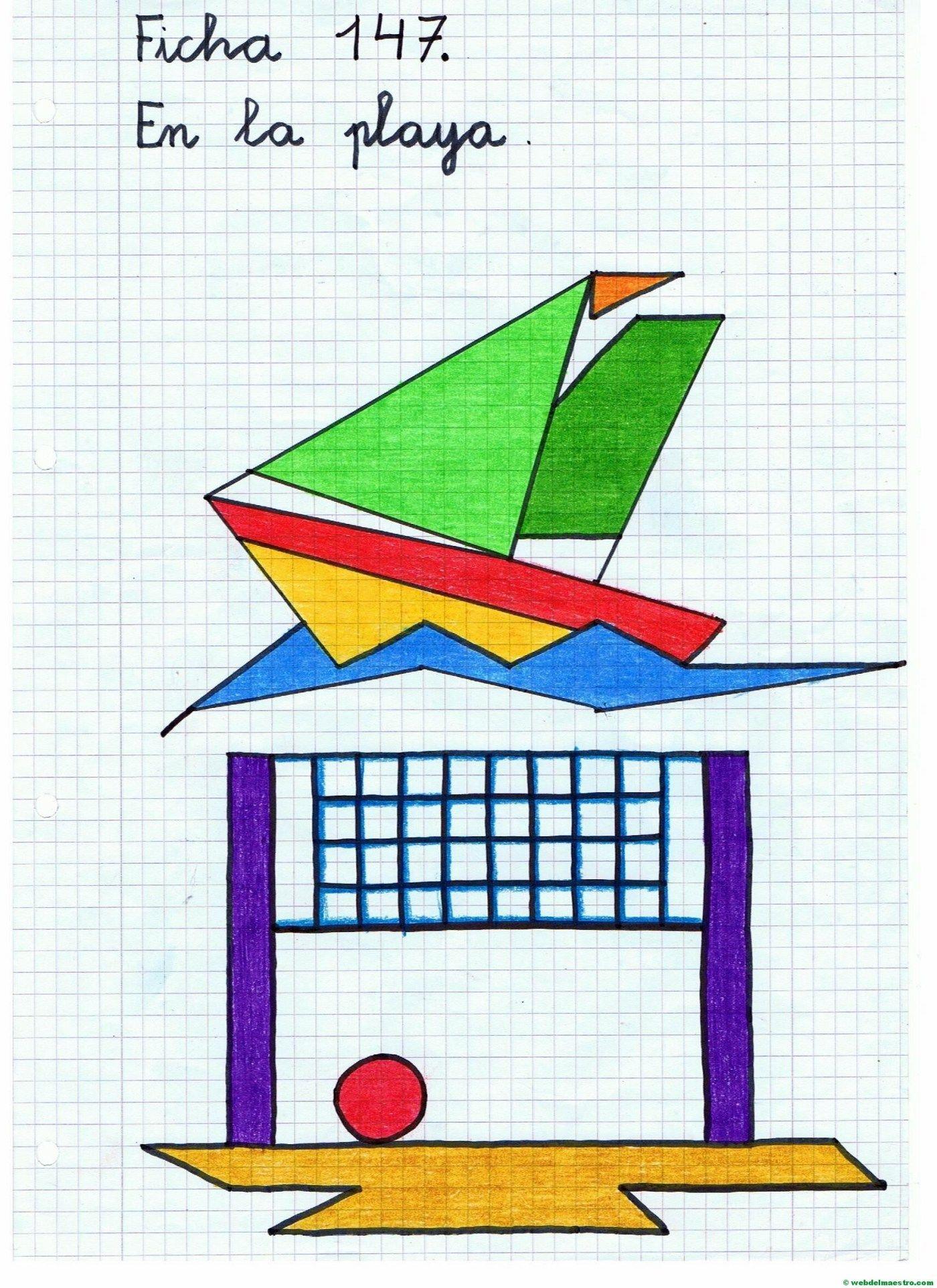 Dibujos en cuadrícula sobre la playa Ficha 1