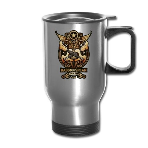 The Bass Glory Travel Mug is a Signature Design from Bass Musician Magazine