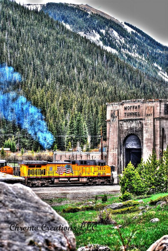 Train entering Moffat Tunnel in HDR by ChromoCreations on Etsy