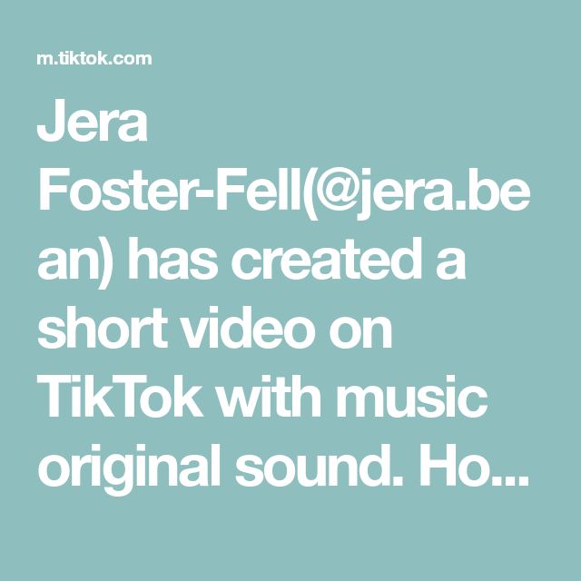 Jera Foster Fell Jera Bean Has Created A Short Video On Tiktok With Music Original Sound How To Take Better Selfies In 2021 The Fosters Can T Stop Laughing Music