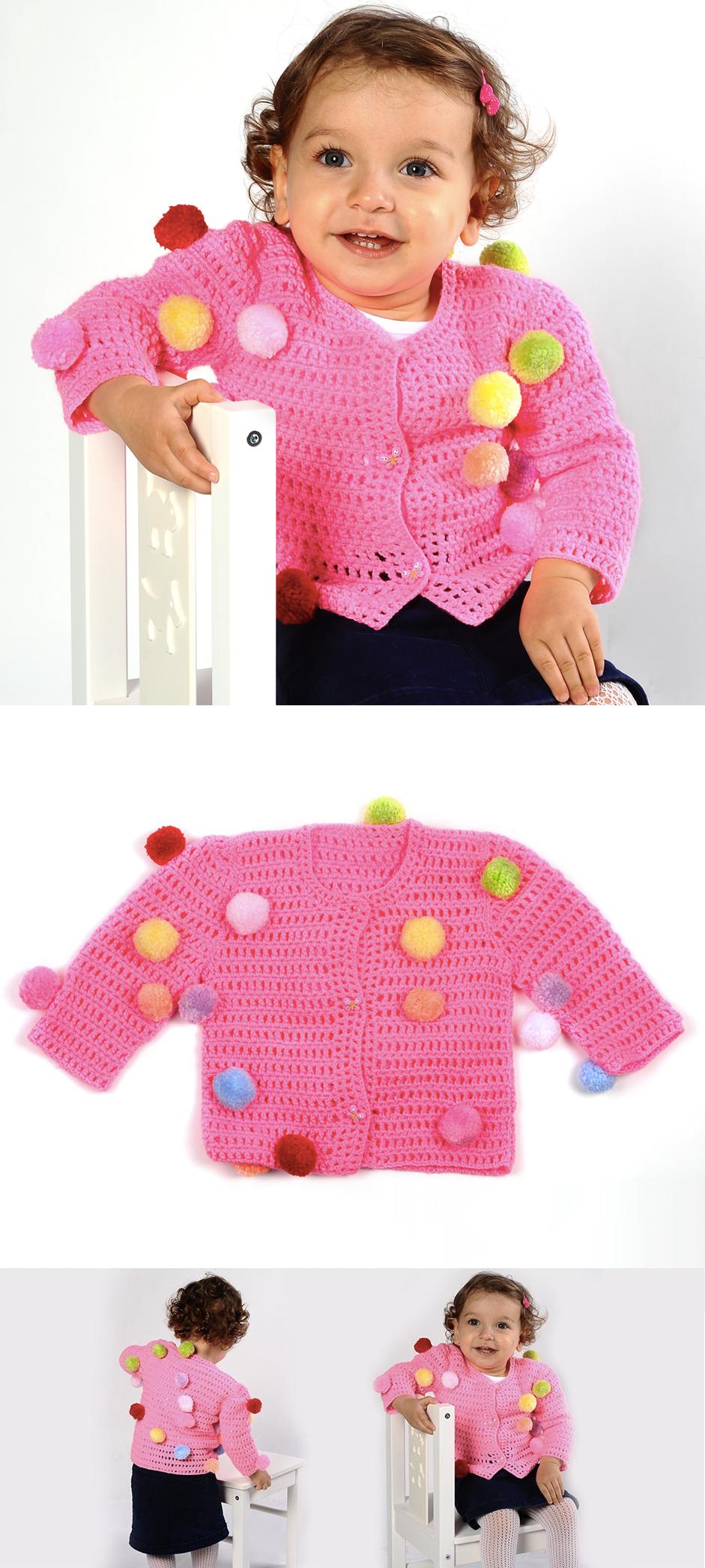Şeker gibi rengarenk ponponları hırka üzerinde görmek isteyenler için harika bir seçenek. Nasıl Yapıldığını öğrenmek için: https://www.hobium.com/atolye/kendinden-ponponlu-iplikle-seker-tadinda-orgu-hirka Child cardigan. Supplies: Hobium.com