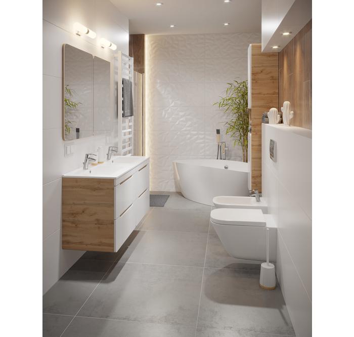 Biala Lazienka Z Drewnianymi Elementami Leroy Merlin Home Bathroom Bathroom Mirror