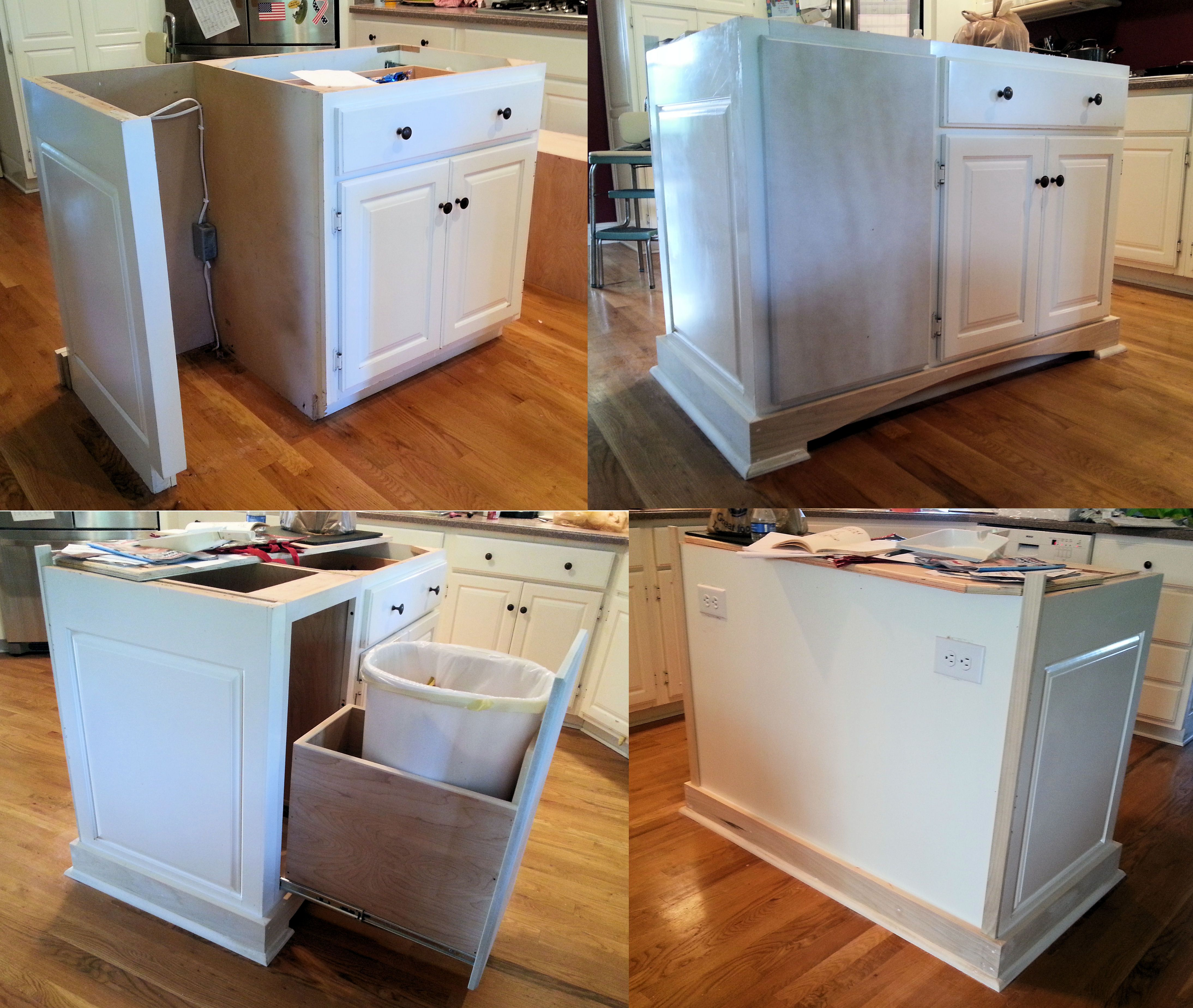 Kitchen Island Kick Plate removed existing trash compactor and replaced with trash rollout