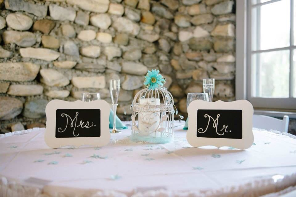 Mr. & Mrs. Head table signs for wedding. Bird cage center pieces. Gerber daisies. Matt Pratt Photography
