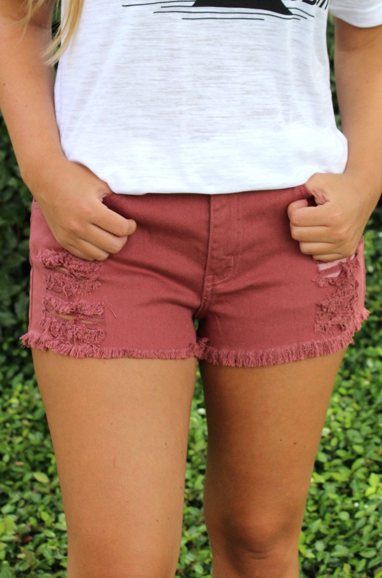 Burnt red distressed shorts products pinterest products