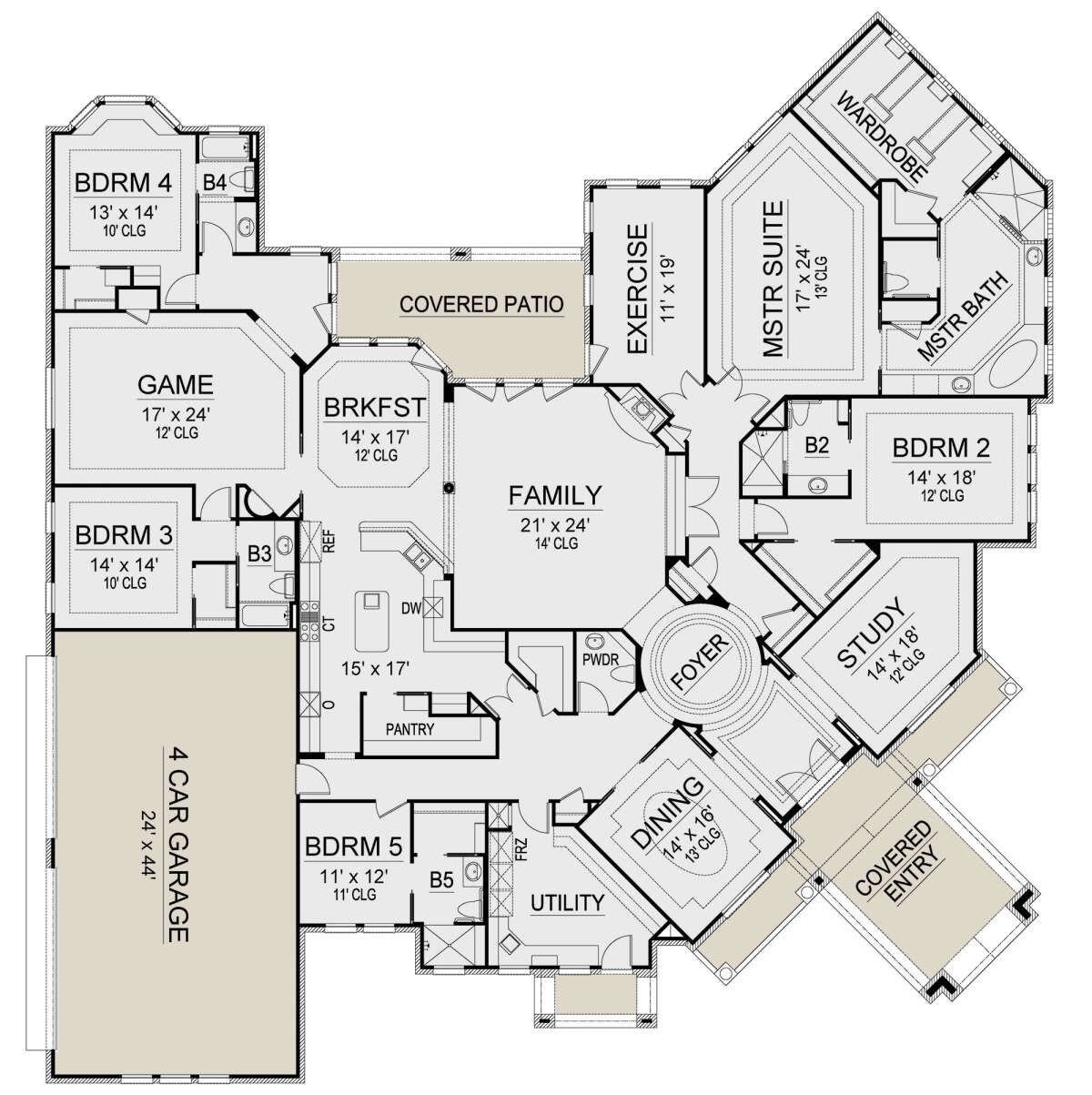 House Plan 5445 00397 Luxury Plan 6 091 Square Feet 5 Bedrooms 5 5 Bathrooms In 2021 Luxury Plan Mansion Floor Plan Luxury House Floor Plans