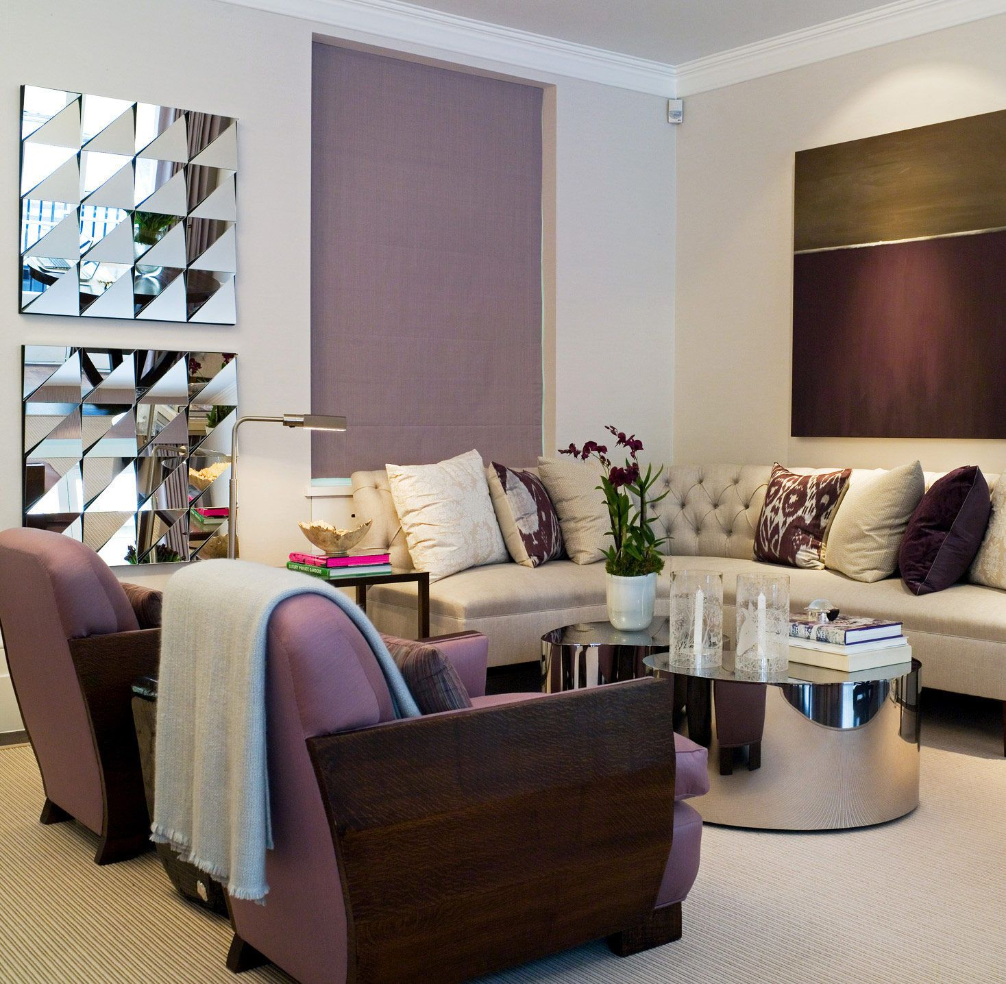 Plum purple and green living room feels like home - Purple and green living room decor ...