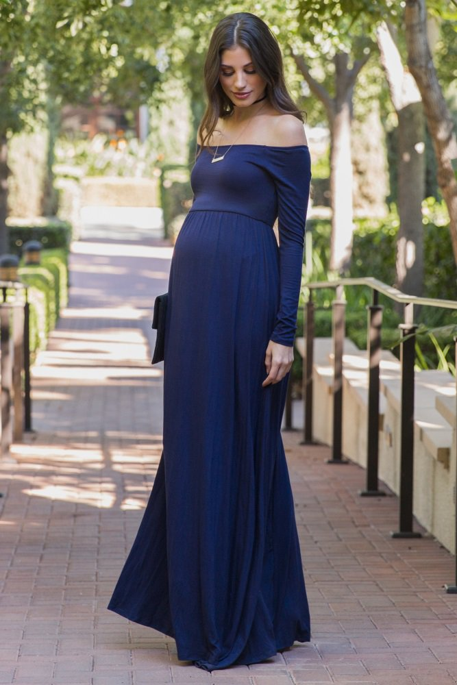 31a00e3de A solid off shoulder maternity maxi dress. Cinched under bust. Cinched  neckline. Long sleeves. Double lined in bust to prevent sheerness.