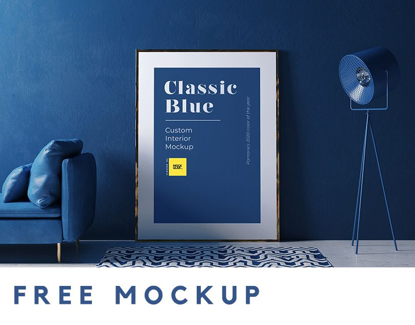 FREE high-quality interior with frame mockup. Display your artwork with this FREE PSD interior mockup. You can customize your scene by toggling the objects. This mockup is crafted using Pantone's Classic Blue color palette. #mockup #freemockup #classicblue #coloroftheyear #pantoneclassicblue #framemockup