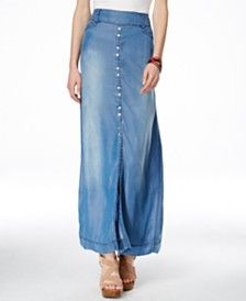 7feee85ef6 INC International Concepts Front-Slit Denim Maxi Skirt, Only at Macy's