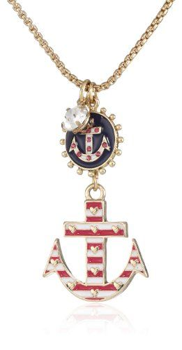 "Betsey Johnson ""Ivy League"" Anchor Pendant Necklace"
