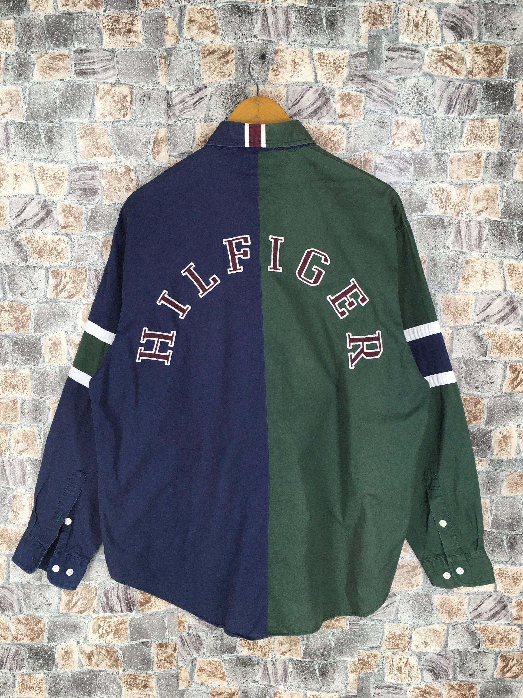 05dd82b68 TOMMY HILFIGER Buttondown Large Tommy Multicolor Vintage 90's Tommy  Colorblock Sailing Gear Oxfords Green/Blue Button Up Shirt Size L by  CaptClothingVintage ...