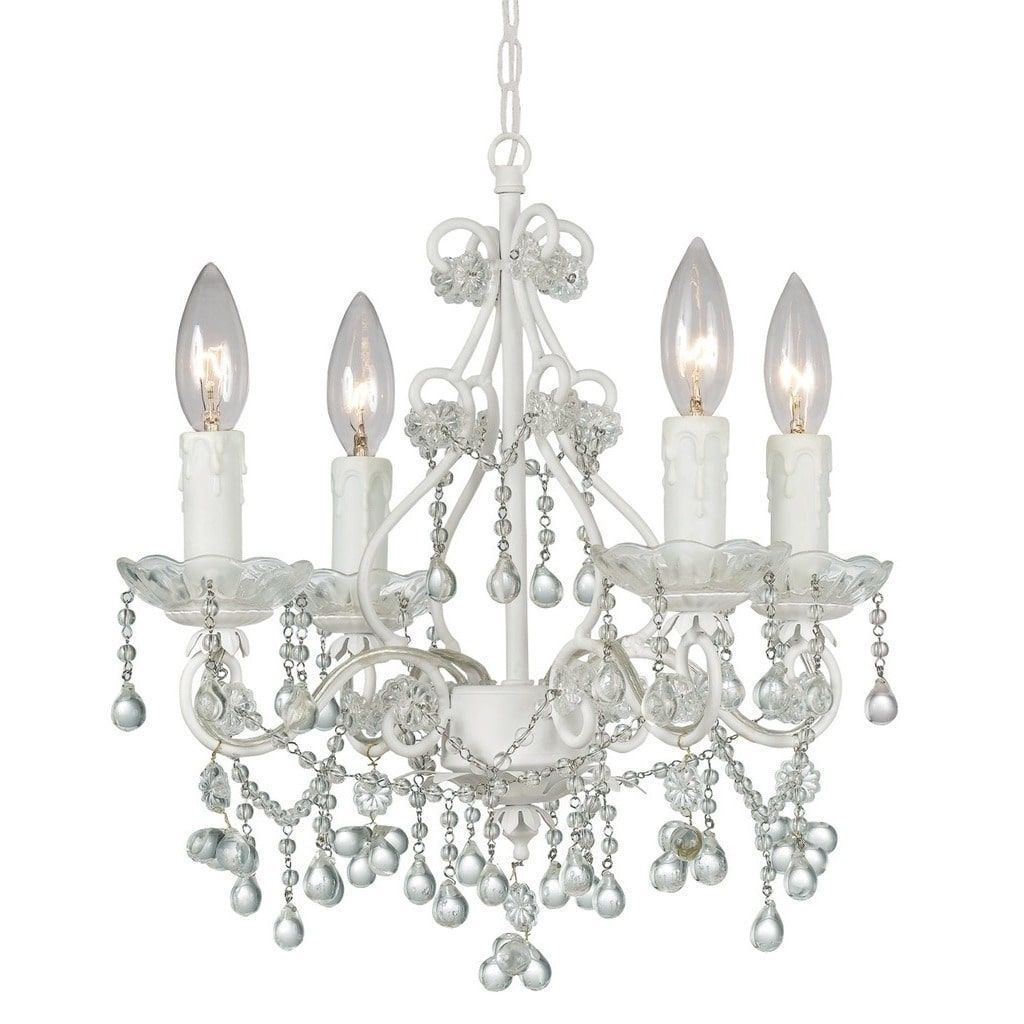 Crystorama Paris Market Collection 4 Light Wet White Murano Crystal Mini Chandelier