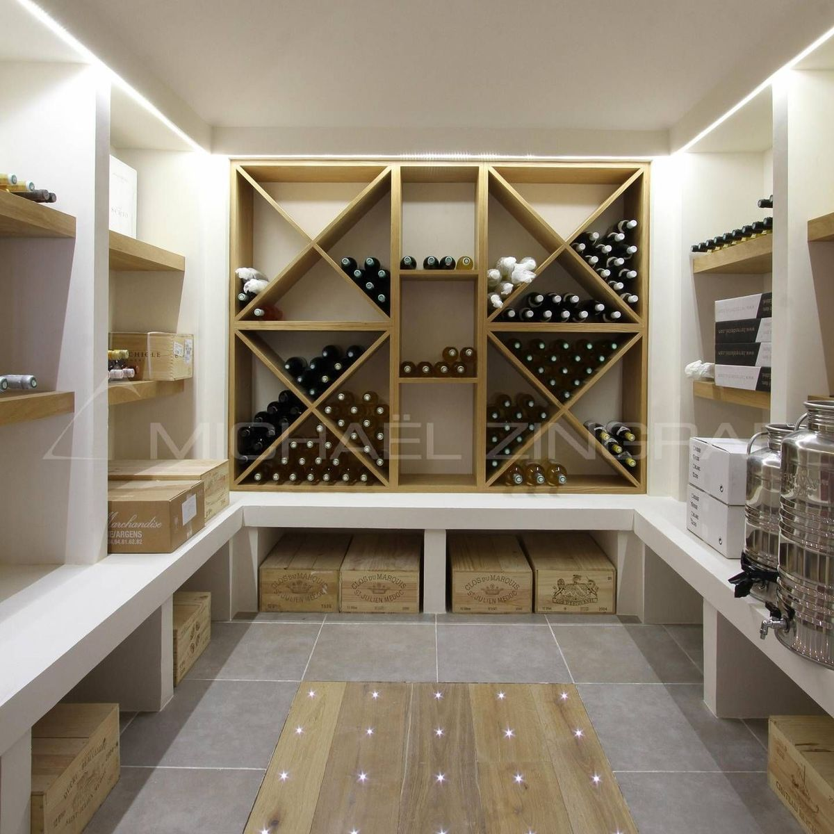 Modern Wine Cellar With Under The Rack Shelving For Large Wooden