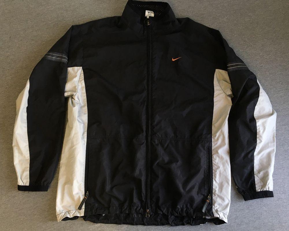 4daee0c62c98 NIKE WINDBREAKER 90s Vtg Nylon Jacket Nike Fit Full Zip Warm Up Black Men  Large  Nike  WarmUp