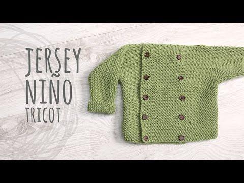 305dbdeb2762 Fácil Jersey punto para bebe 18 meses a dos agujas o agujas ...