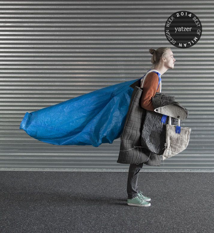 A collection of handbags and concept clothing by Jaap van der Schaaf, inspired by the 'style' of homeless people.