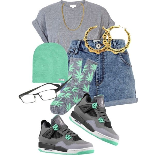 """Ayee ,"" by iammissweezybieber143 on Polyvore Cheap Jordan Retro 4 Grade School only $61.2, save up to 59% off for all #Nikes #Shoes"