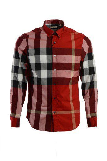 Exploded Check Long-Sleeve Sport Shirt, Claret, Red | Check, Men's fashion  and Burberry men