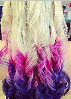 light brown hair dip dyed purple