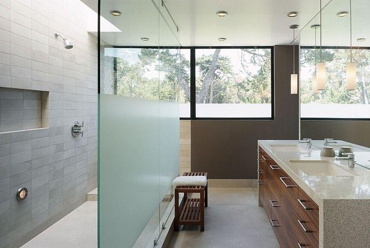 meuble salle de bain verre dépoli
